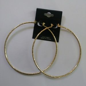 Jewelry - NEW Large Gold Hoop Clasp Earrings